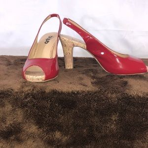 Shoes - Red Peep Toe Sling Back Shoes!